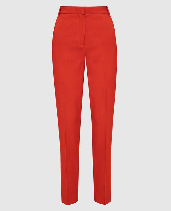 Оранжевые брюки из шерсти