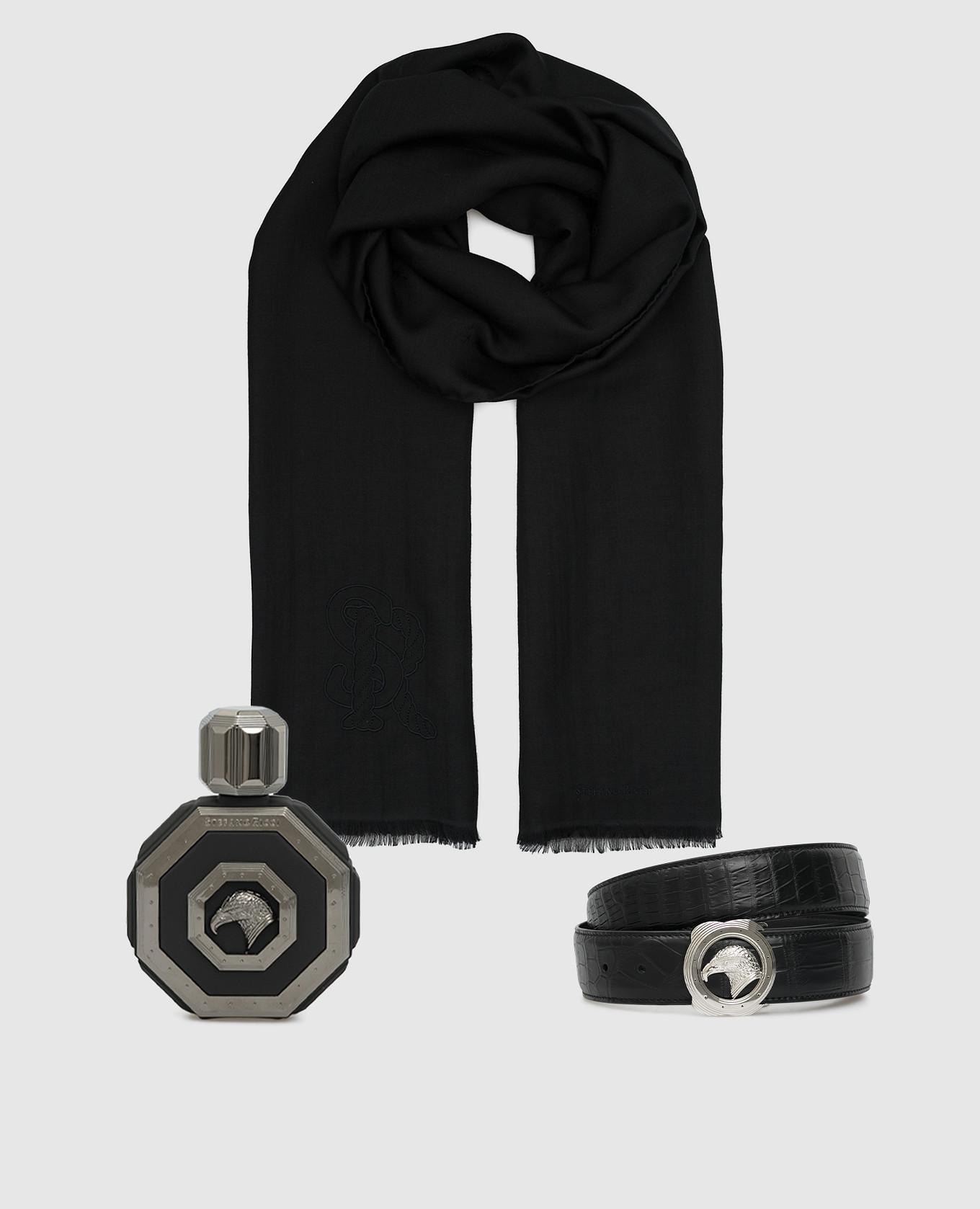 Подарочный набор: парфюмированная вода Royal Eagle Black, ремень из кожи крокодила и шарф из кашемира и шелка Stefano Ricci