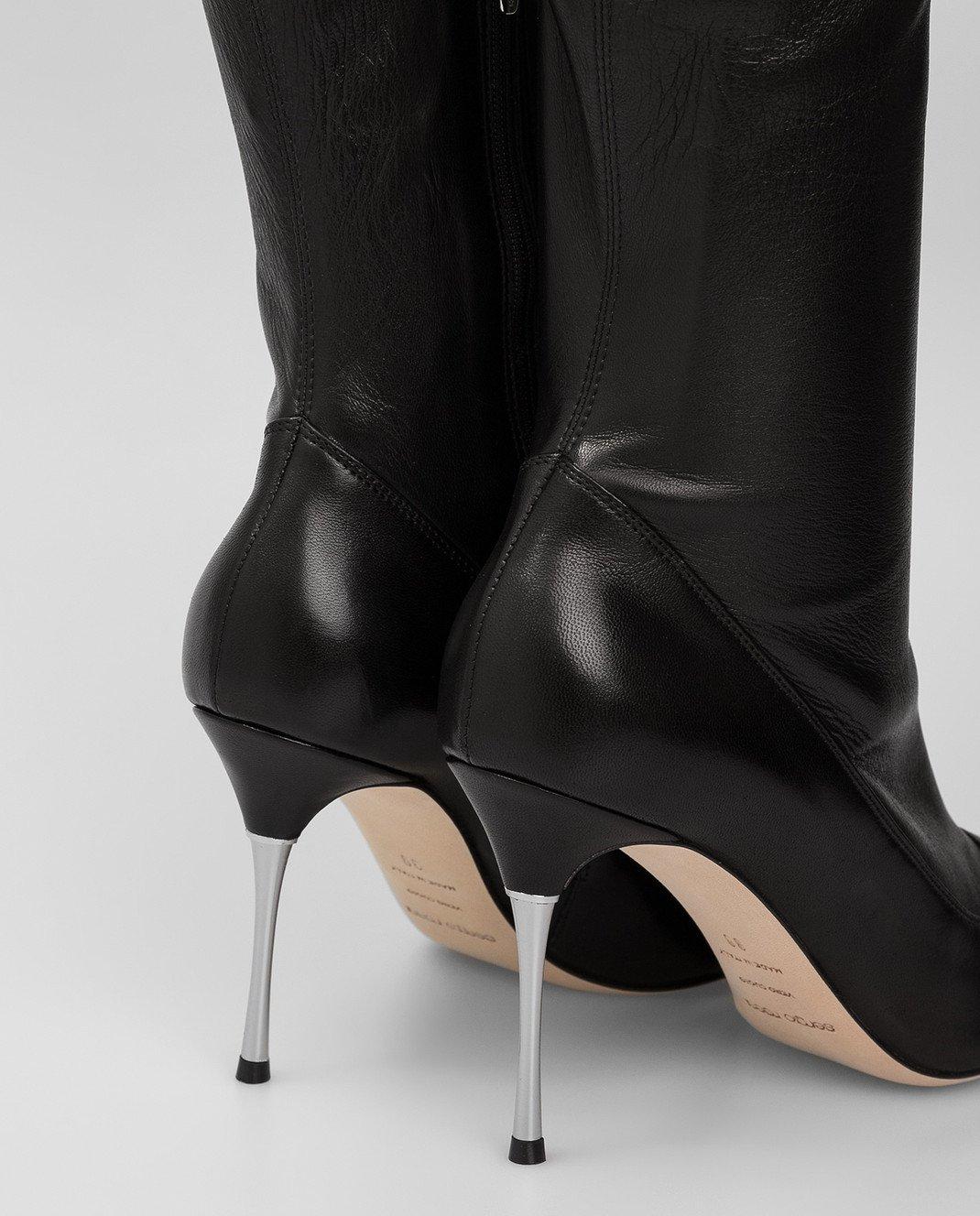 Sergio Rossi Черные кожаные ботфорты изображение 5