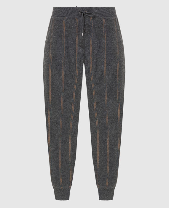 Темно-серые спортивные брюки из кашемира