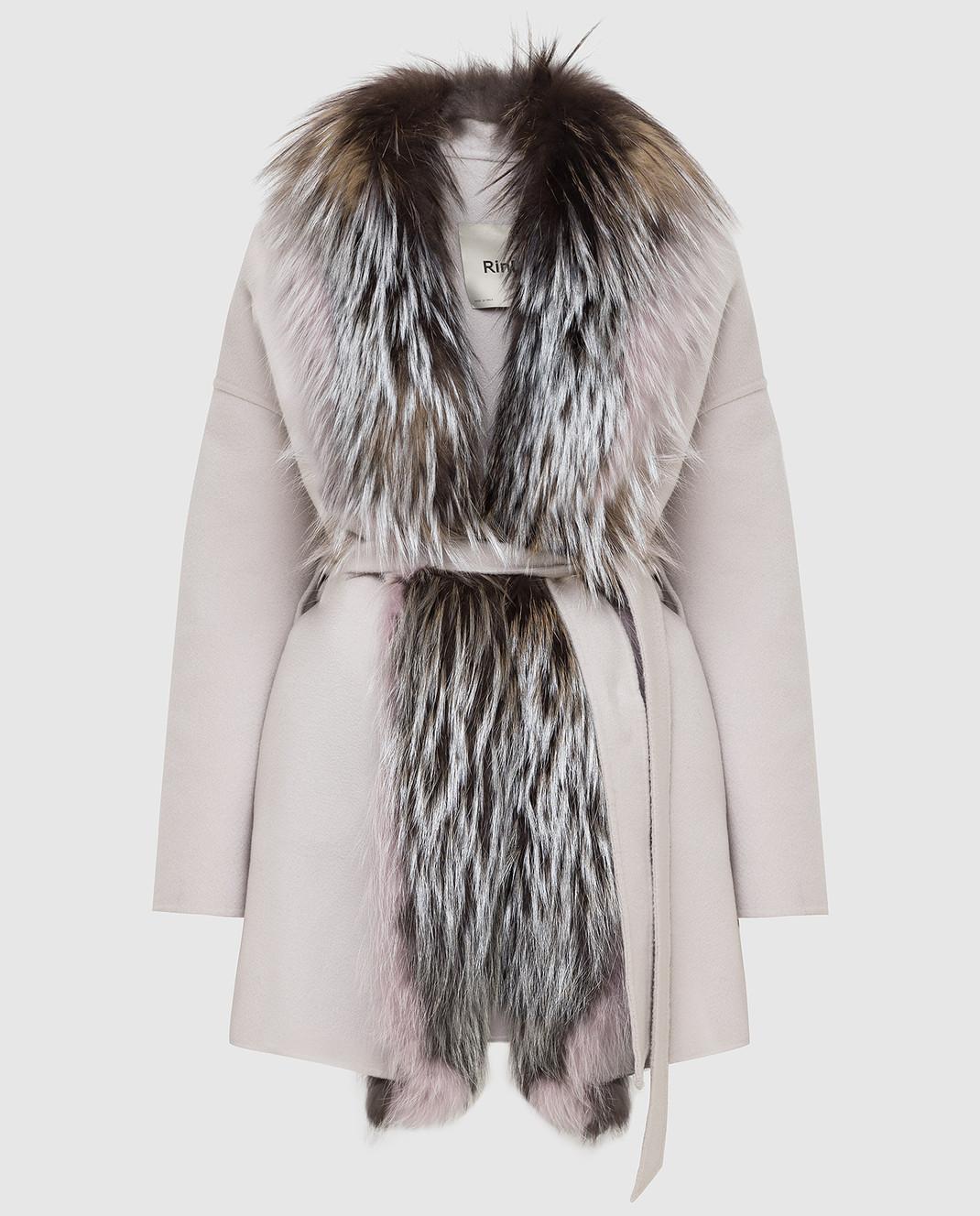 Rindi Серое пальто из кашемира с мехом лисы 298TE017