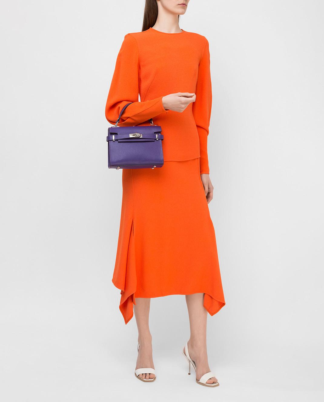 Victoria Beckham Оранжевая юбка SKMID3315 изображение 2