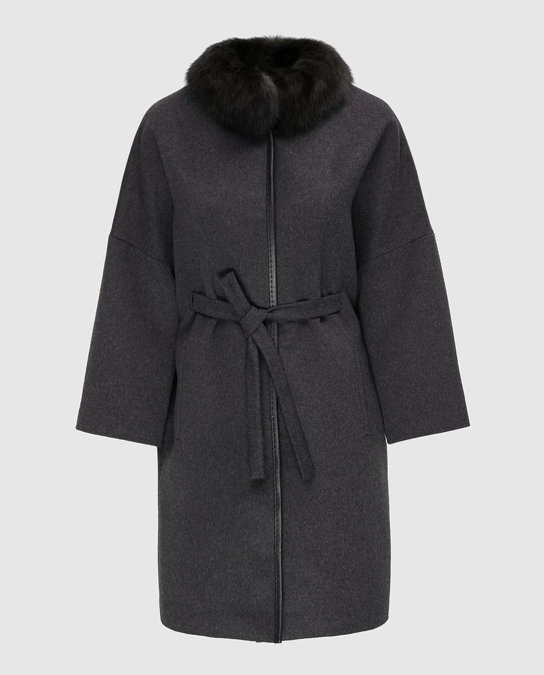Real Furs House Темно-серое пальто CSR7177