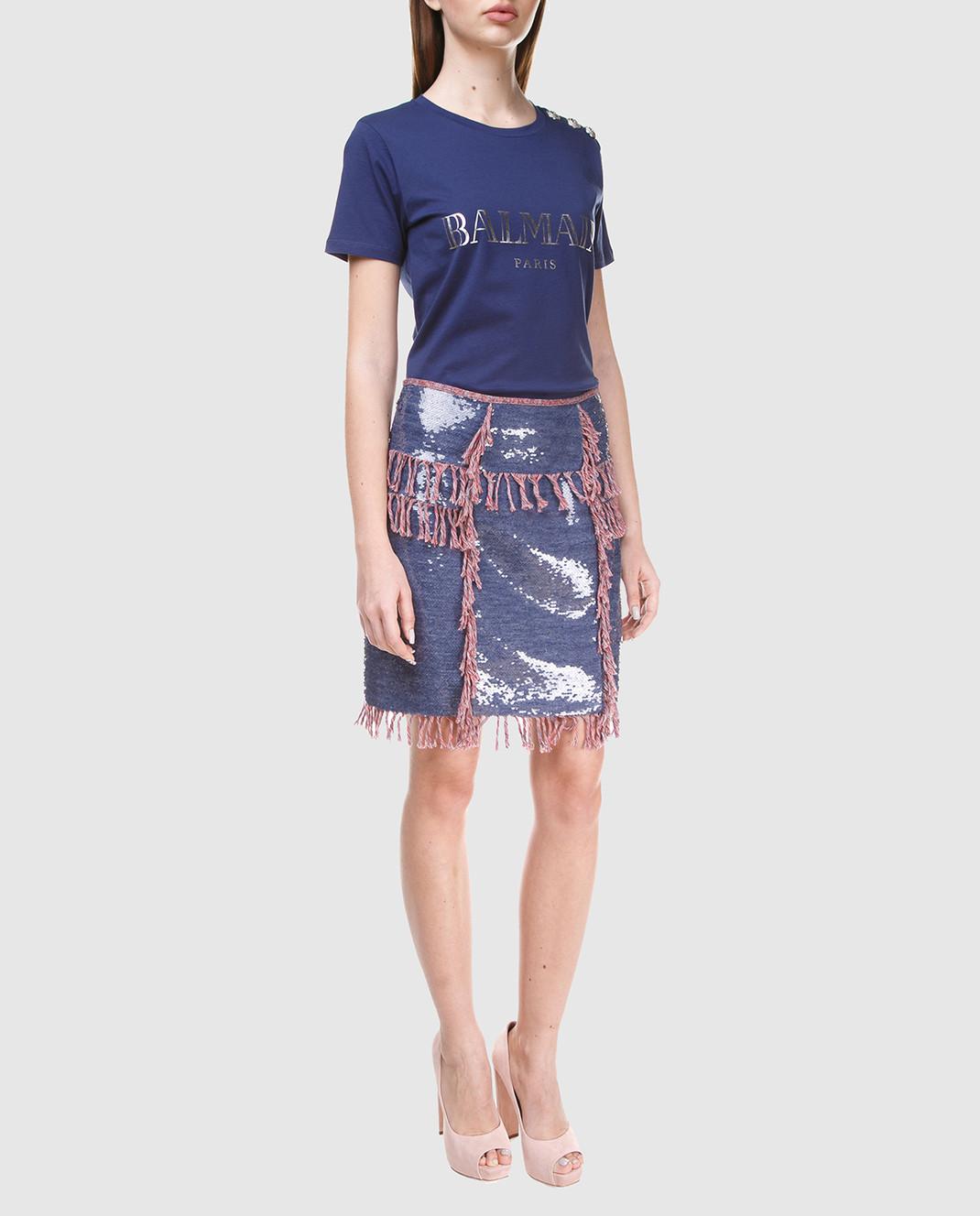 Balmain Синяя юбка с пайетками 124500 изображение 2