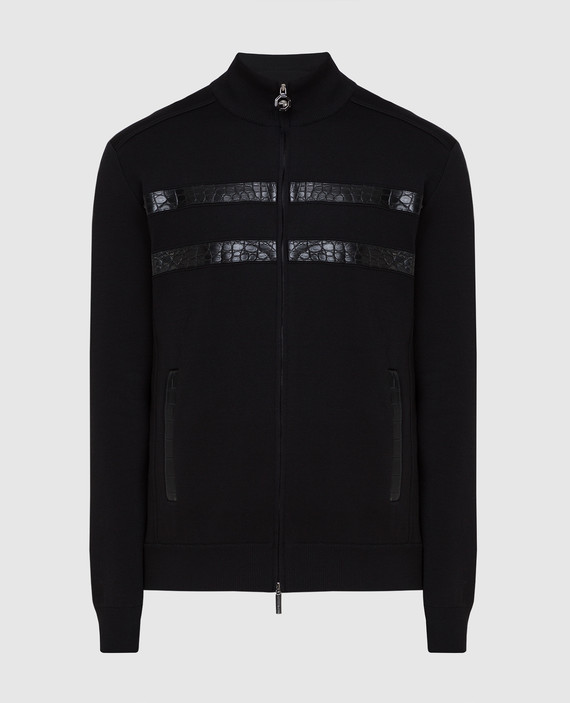 Черная спортивная кофта из шелка
