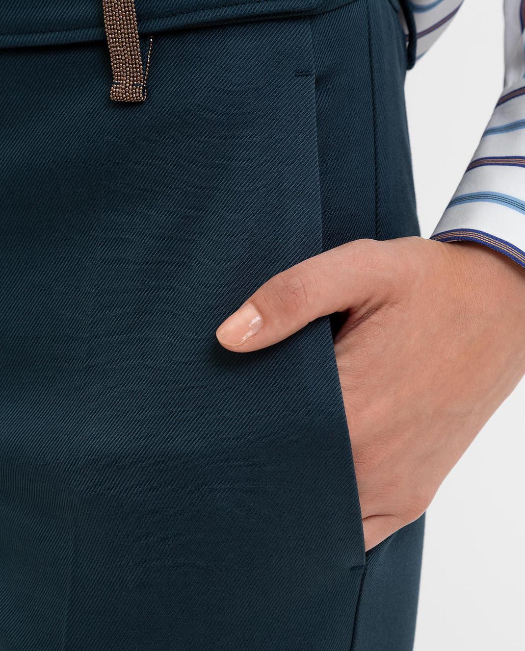 Brunello Cucinelli Темно-бирюзовые брюки изображение 5