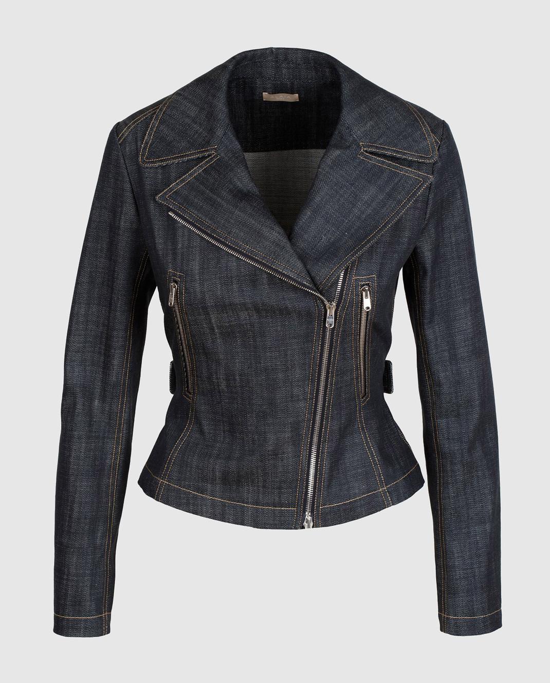 Azzedine Alaia Темно-синяя джинсовая косуха изображение 1