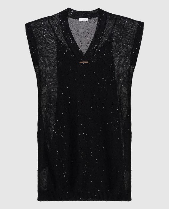Черное платье из льна и шелка