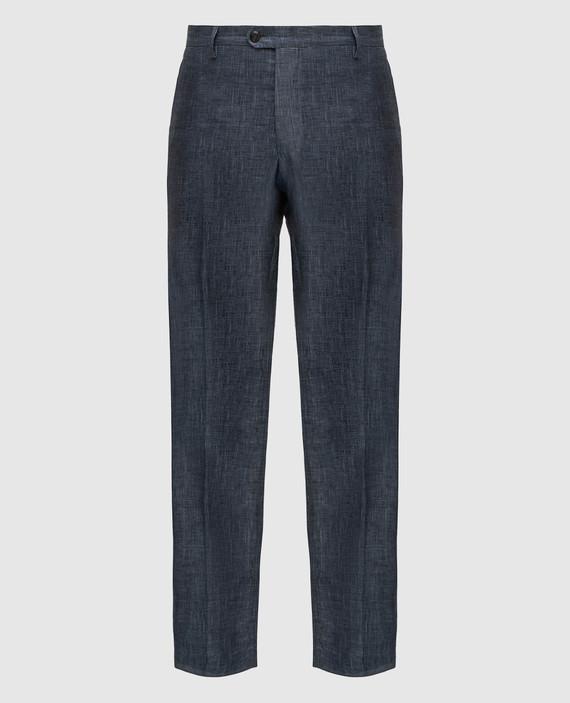 Темно-серые брюки из льна