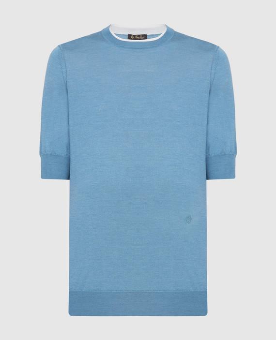 Голубая футболка из кашемира и шелка