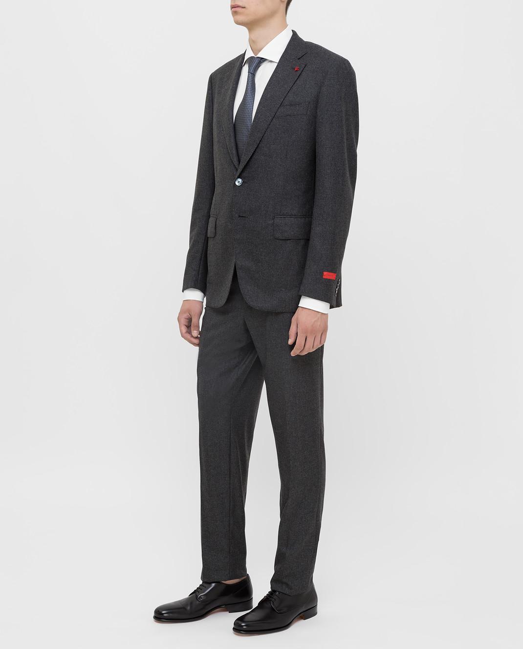 ISAIA Серый костюм из шерсти и кашемира 224ASI89681 изображение 3