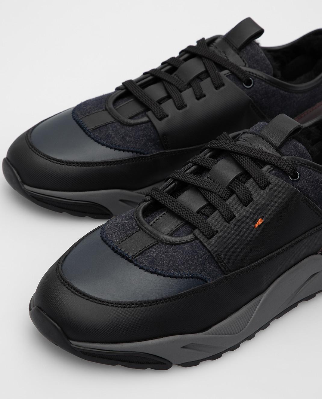 Santoni Темно-синие кроссовки изображение 5
