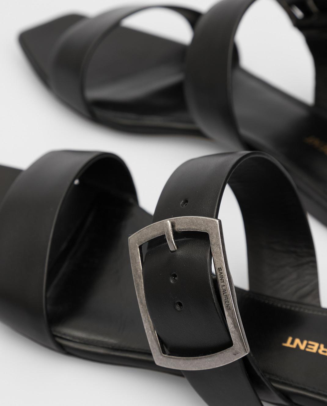Saint Laurent Черные кожаные шлепанцы