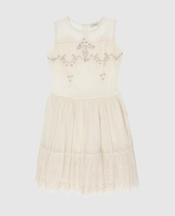 Детское светло-бежевое платье с кристаллами