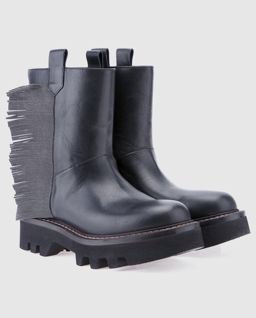 Brunello Cucinelli Черные кожаные сапоги MZFLG1009 изображение 2