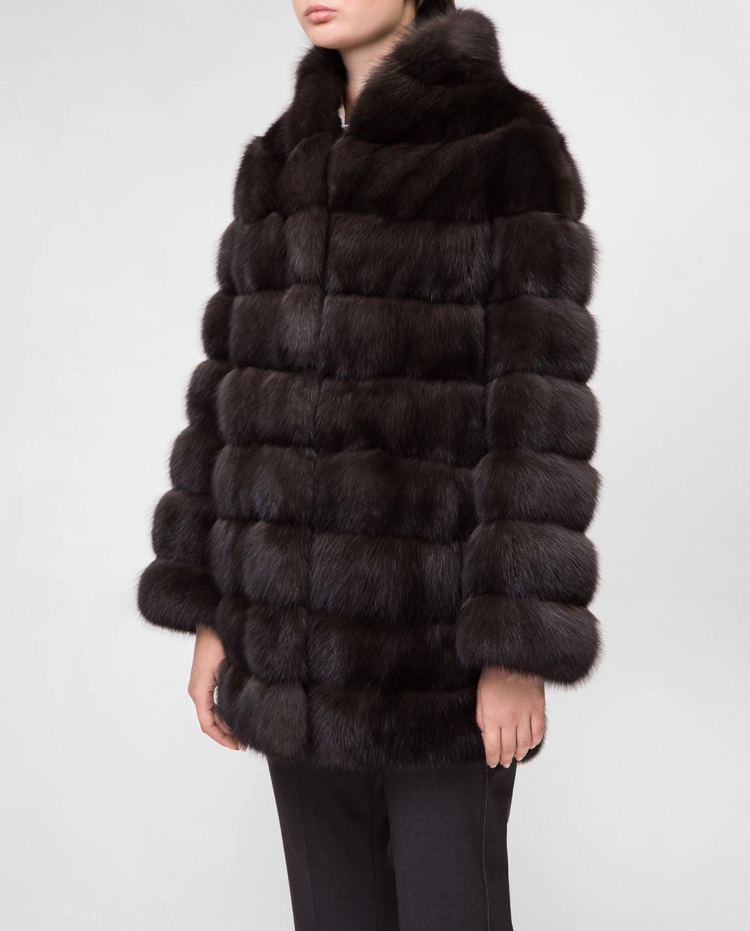 Real Furs House Черное меховое пальто SBR29548DARK изображение 3