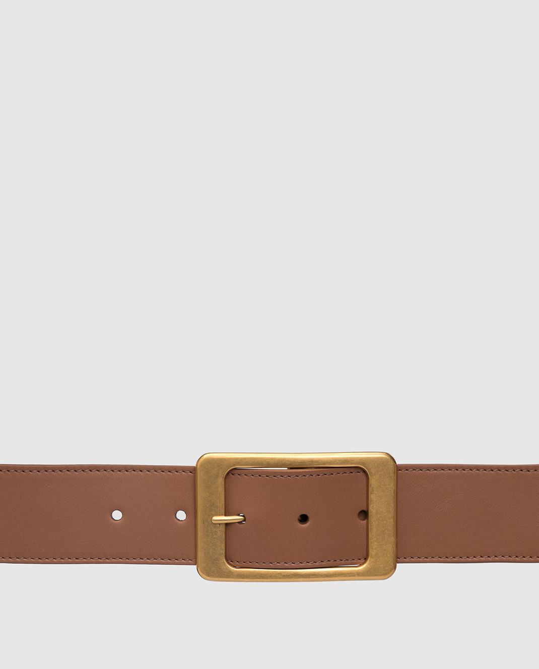 Loro Piana Коричневый кожаный ремень изображение 4