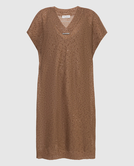 Коричневое платье из льна и шелка
