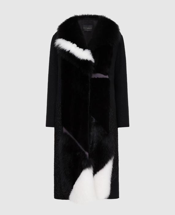 Черное пальто из шерсти с мехом норки и мехом лисы