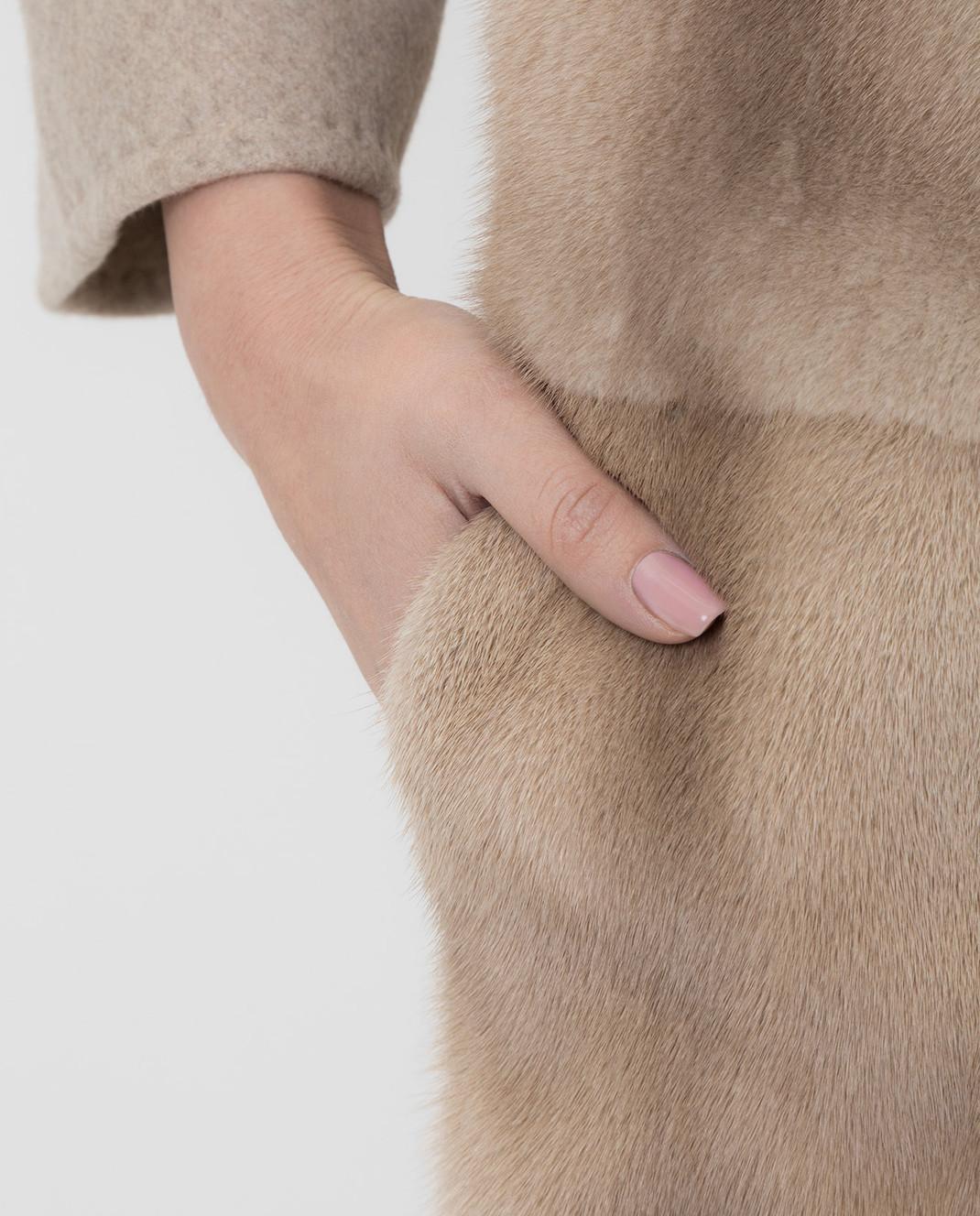 Giuliana Teso Бежевое пальто из шерсти с мехом норки 74QS285T072 изображение 5