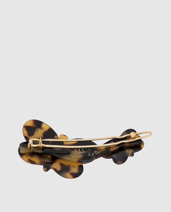 Темно-коричневая заколка с кристаллами hover