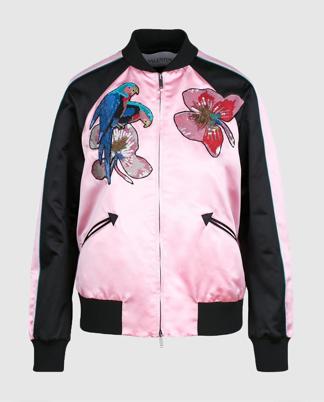 Valentino Розовый бомбер из шелка MBCCI0150HM