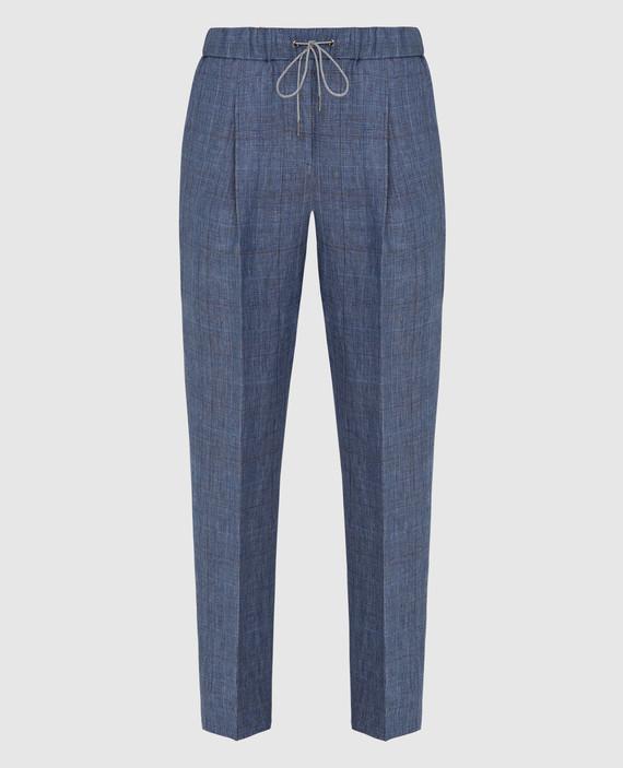 Синие брюки из льна