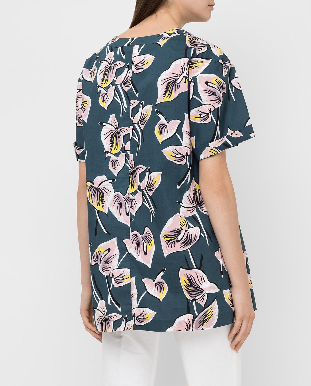 Marni Темно-бирюзовая рубашка CAMAT40A00TCT37 изображение 4