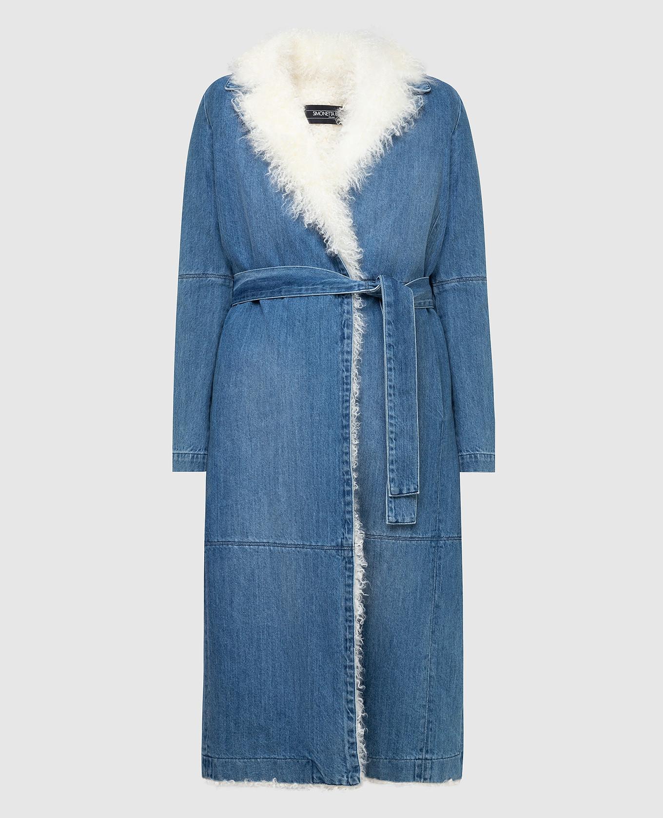 Синее джинсовое пальто