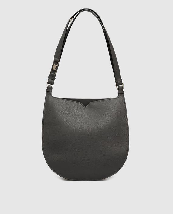 Темно-серая кожаная сумка