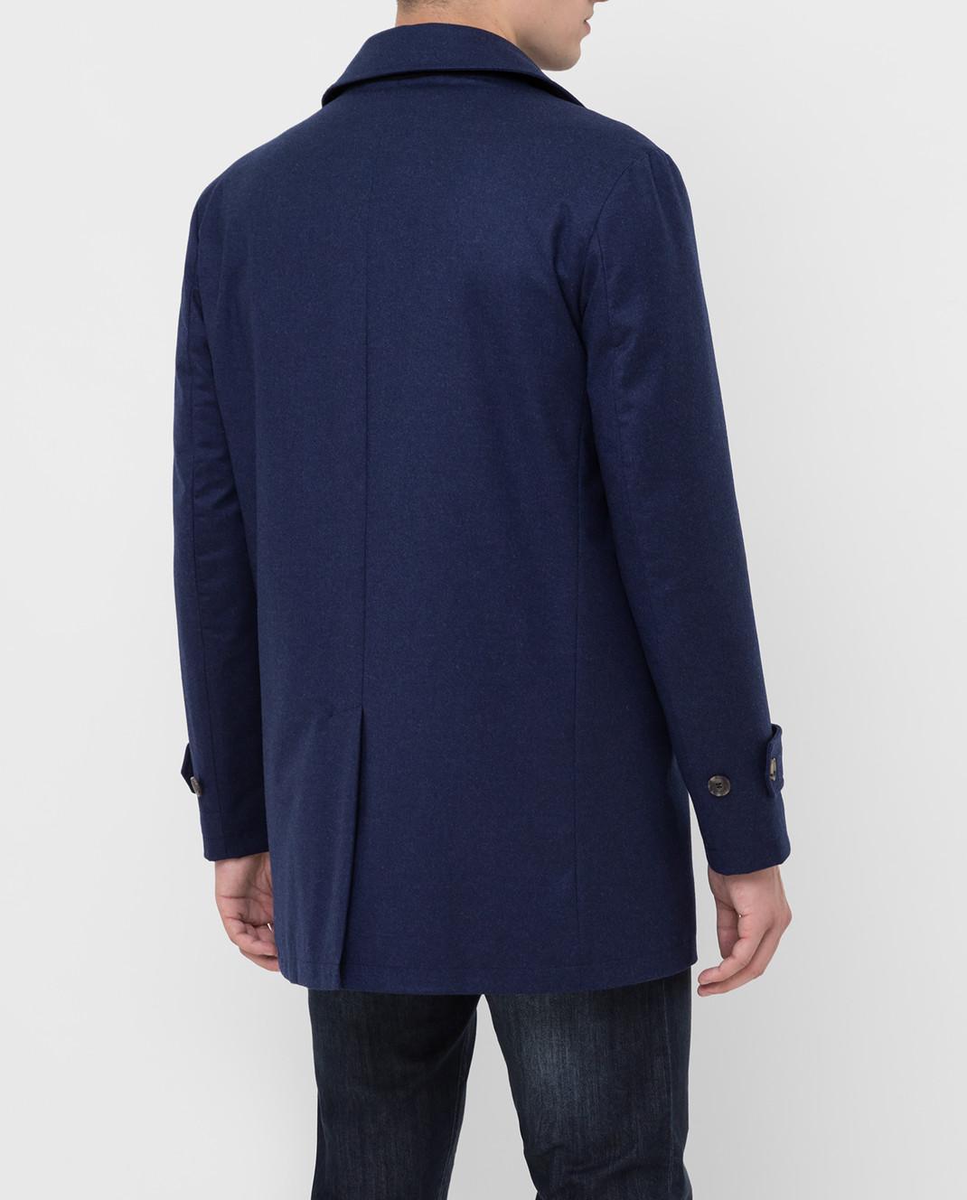 ISAIA Темно-синее пальто из шерсти и кашемира изображение 4