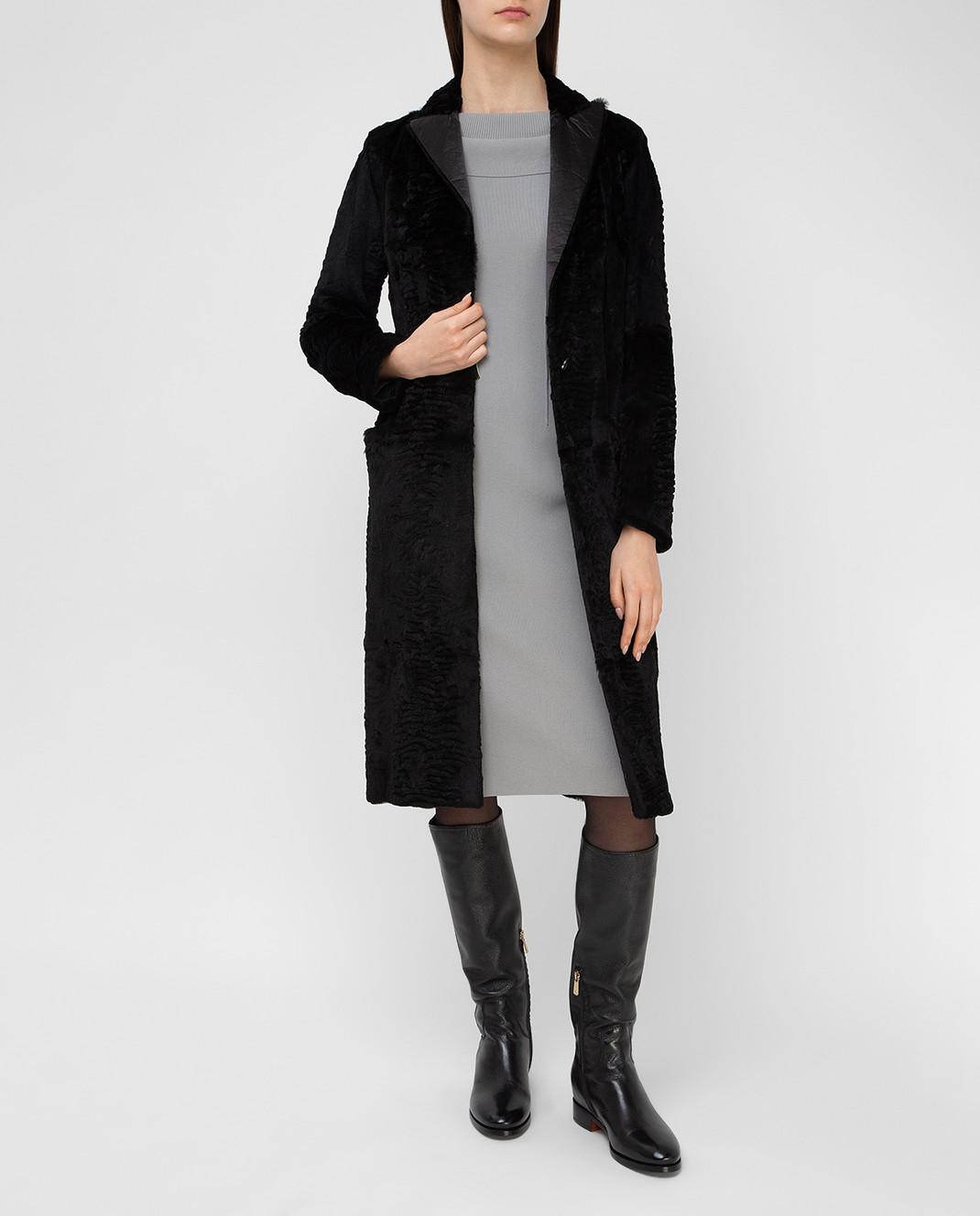 Simonetta Ravizza Черное пальто из кролика GCAPG изображение 2