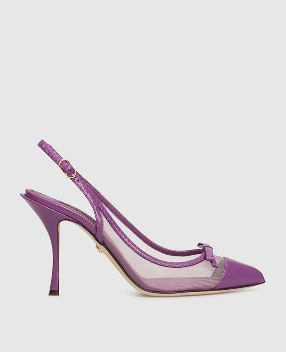 Фиолетовые кожаные слингбэки