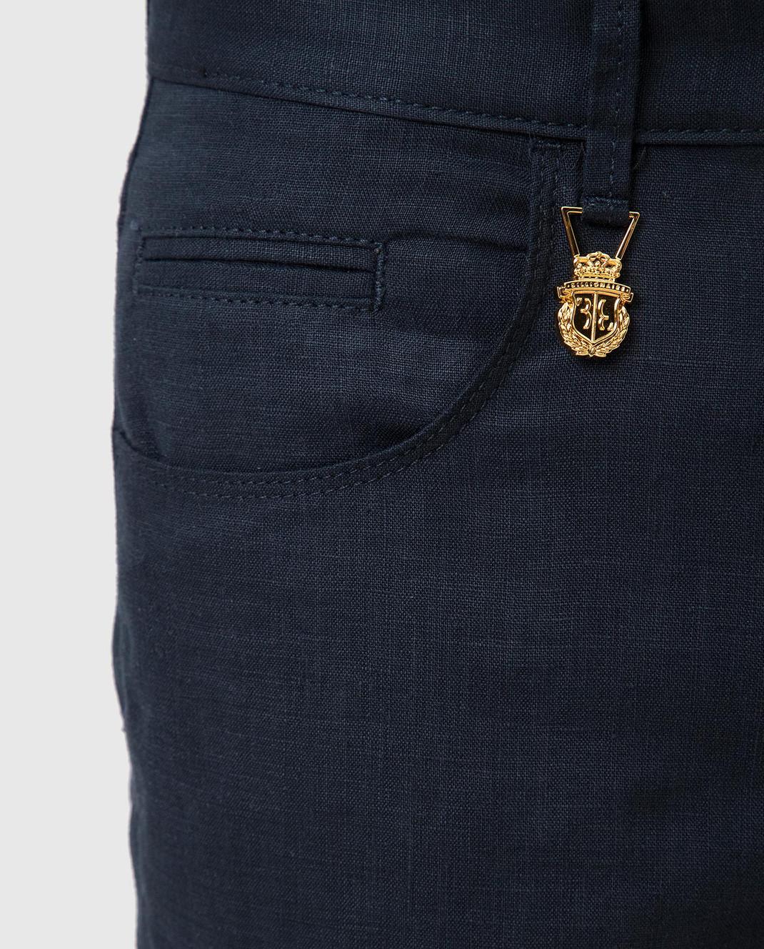Billionaire Темно-синие брюки из льна MRT0546 изображение 5