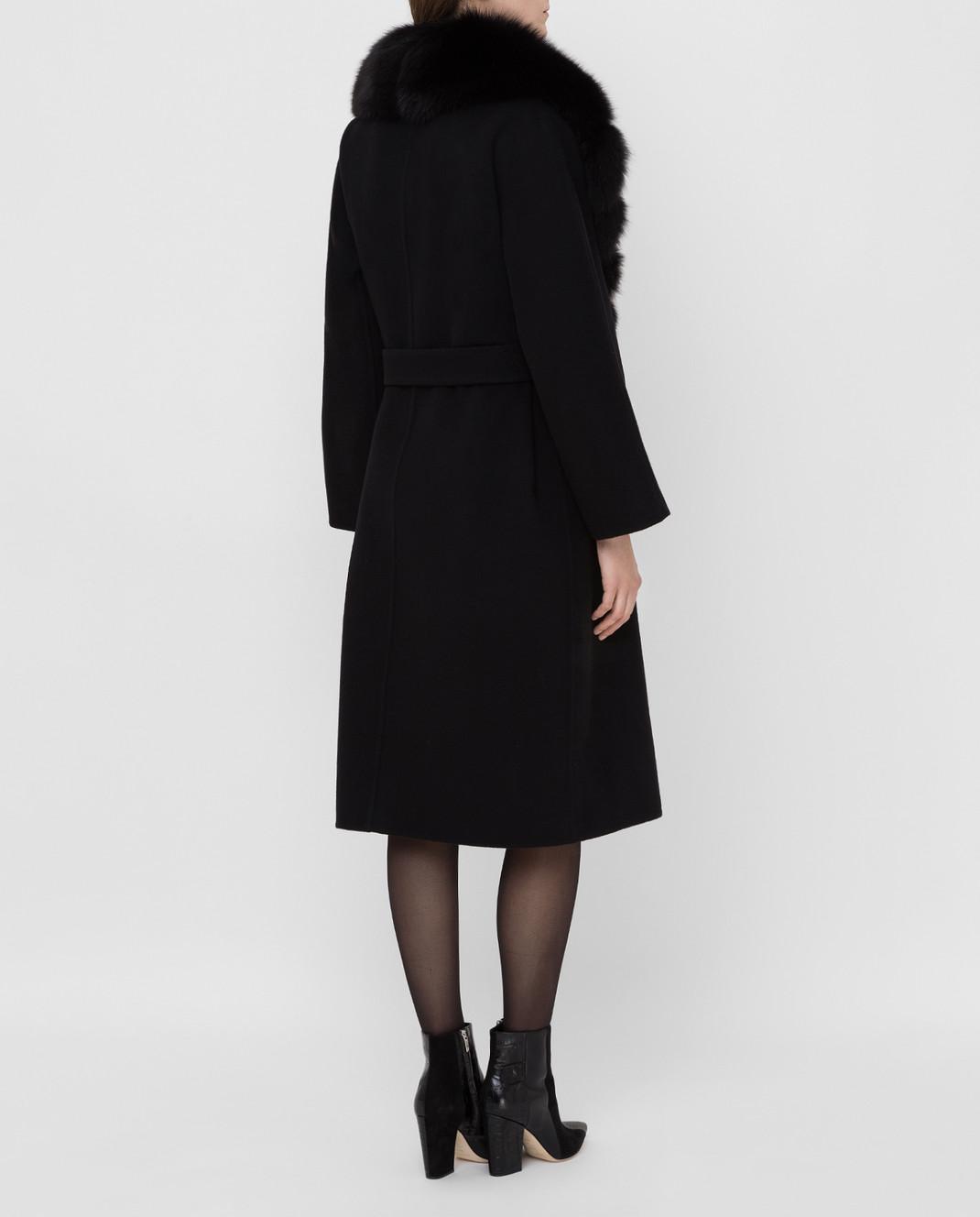 Ermanno Scervino Черное пальто из шерсти с мехом лисы изображение 4