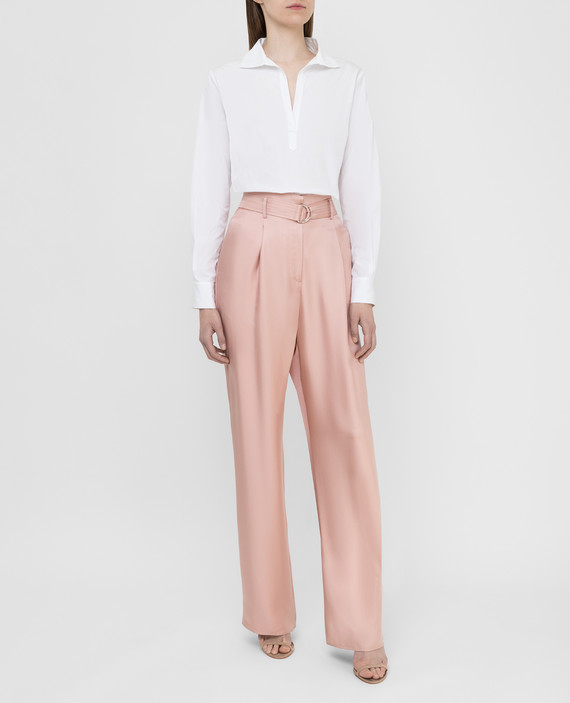 Розовые брюки из шелка hover