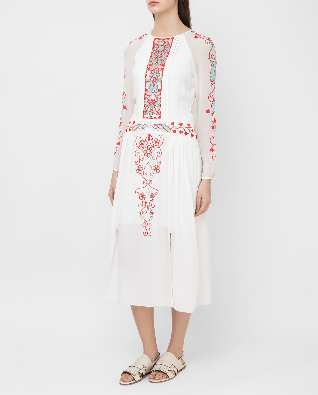 Temperley London Белое платье из шелка 16S73650959 изображение 3