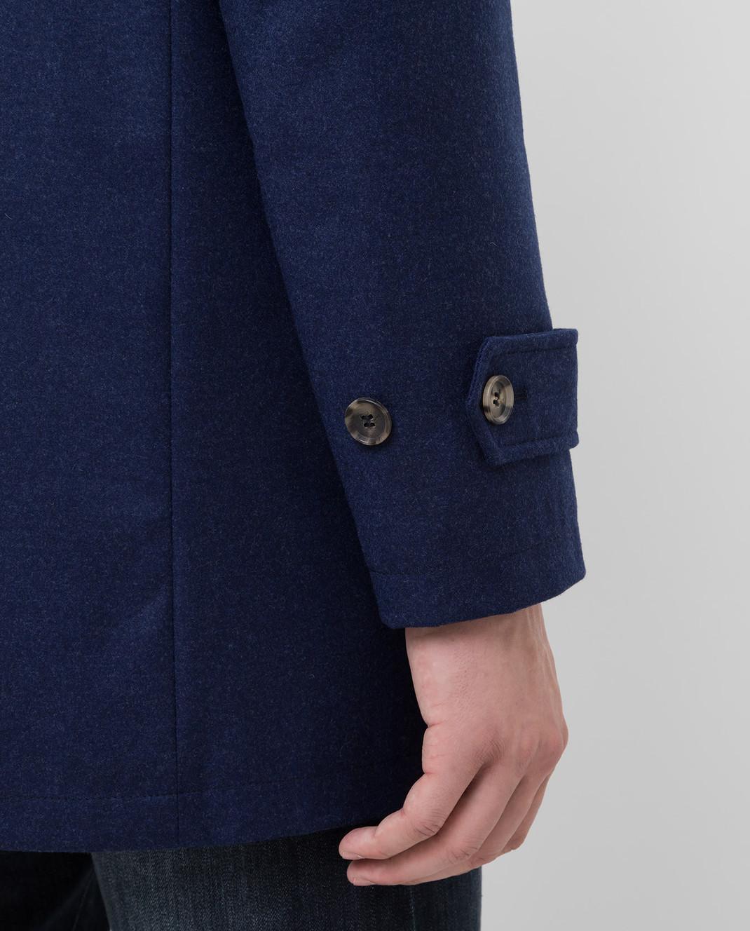 ISAIA Темно-синее пальто из шерсти и кашемира изображение 5