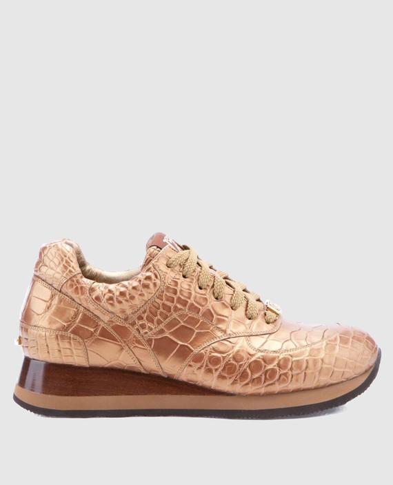 Золотистые кроссовки ручной работы из кожи крокодила