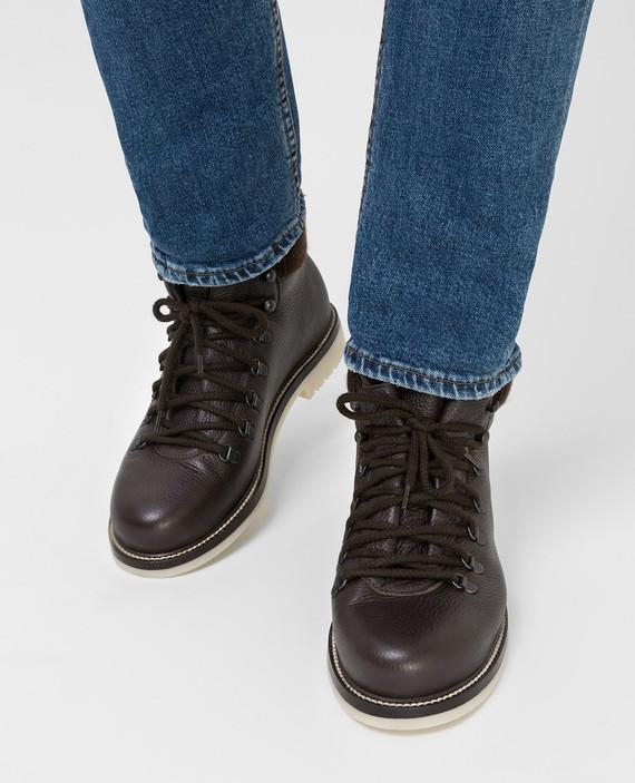 Темно-коричневые кожаные ботинки hover