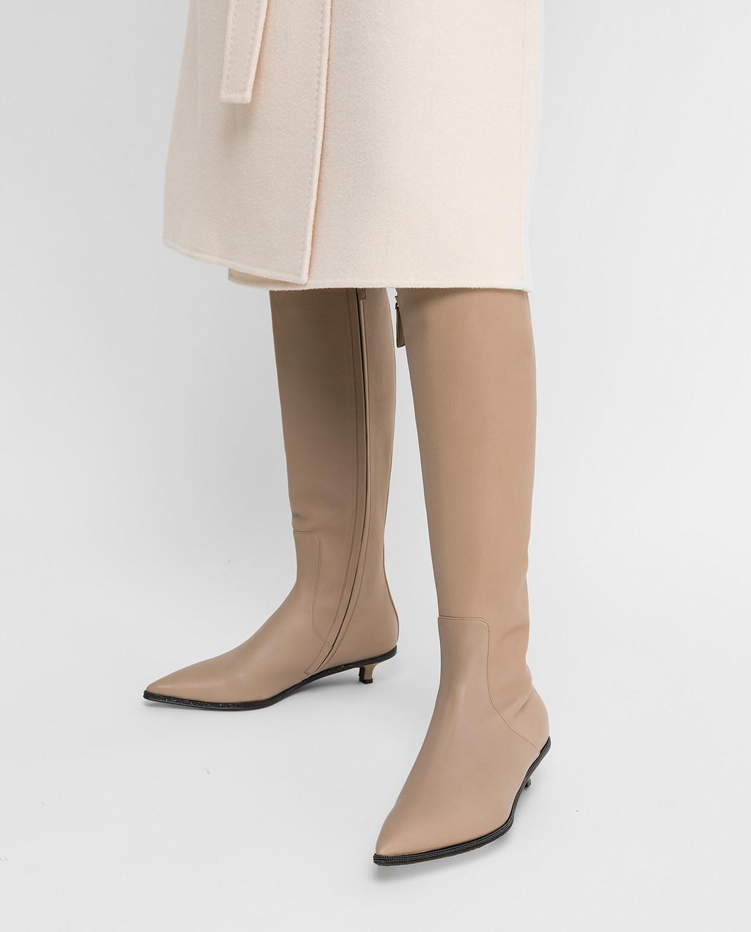 Brunello Cucinelli Бежевые кожаные сапоги изображение 2