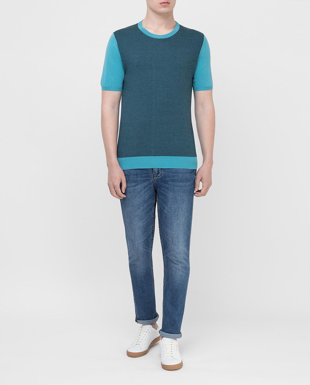 Kiton Голубая футболка UK1044E19 изображение 2