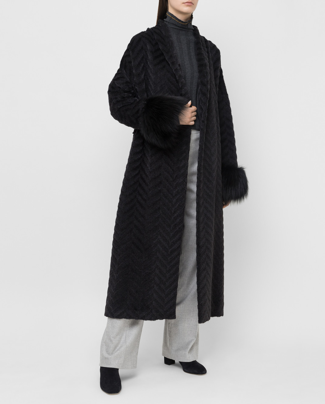 Rindi Черное пальто из альпаки и шерсти с мехом лисы 267TE017 изображение 2