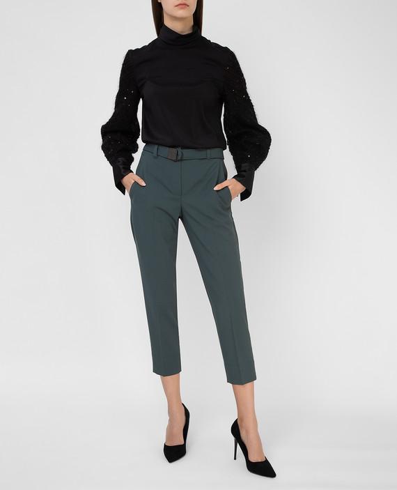 Зеленые брюки из шерсти hover