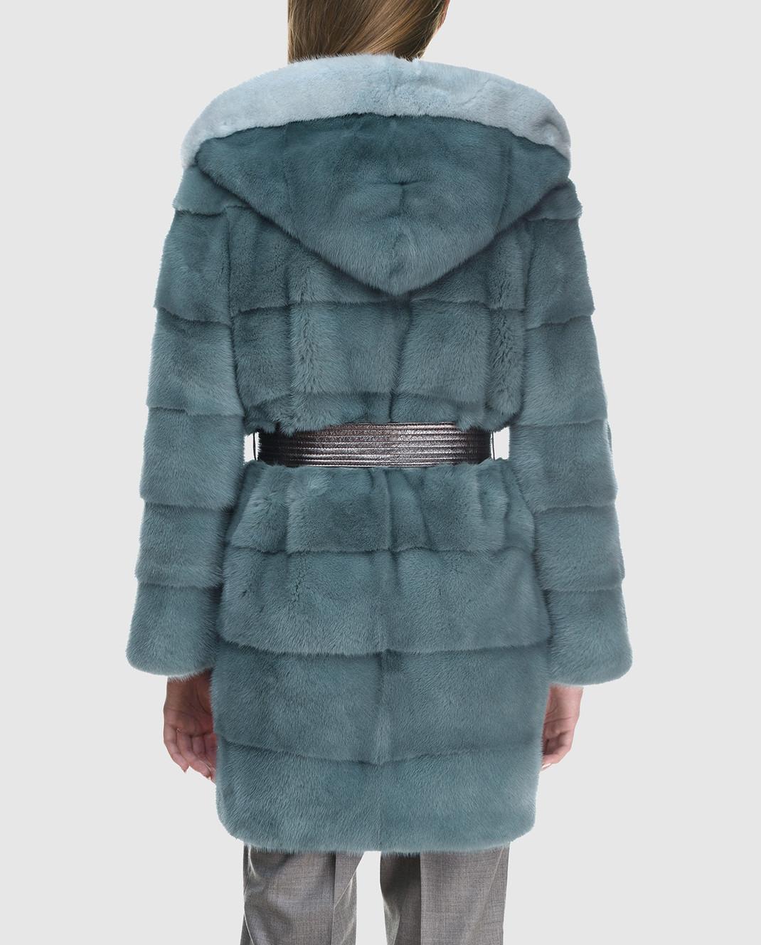 Florence Mode Бирюзовая шуба из меха норки с поясом L1827PERLA изображение 4