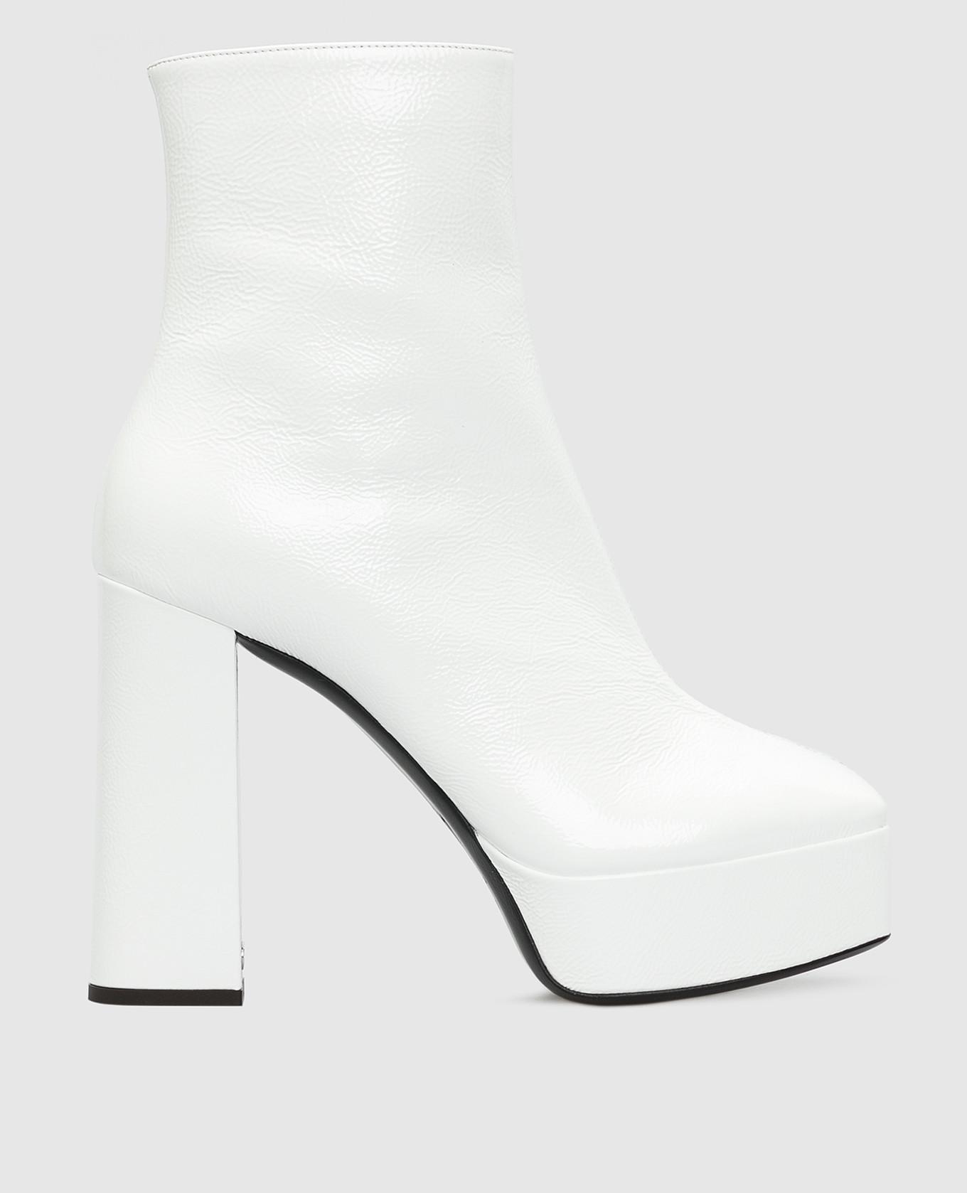Белые кожаные ботильоны