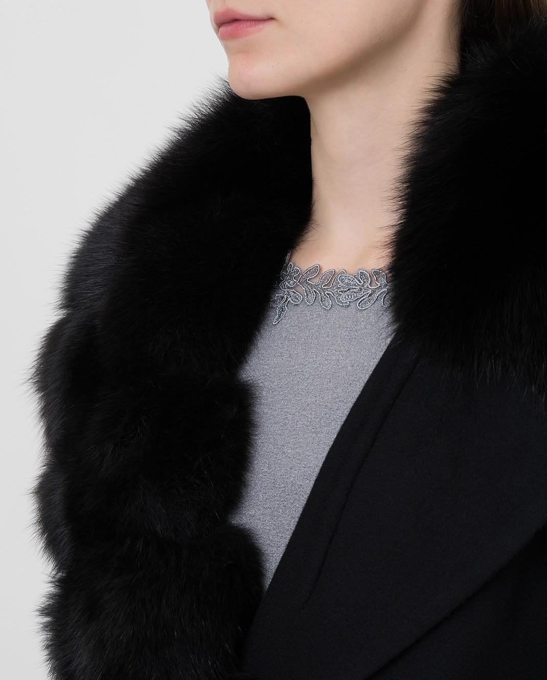 Ermanno Scervino Черное пальто из шерсти с мехом лисы изображение 5