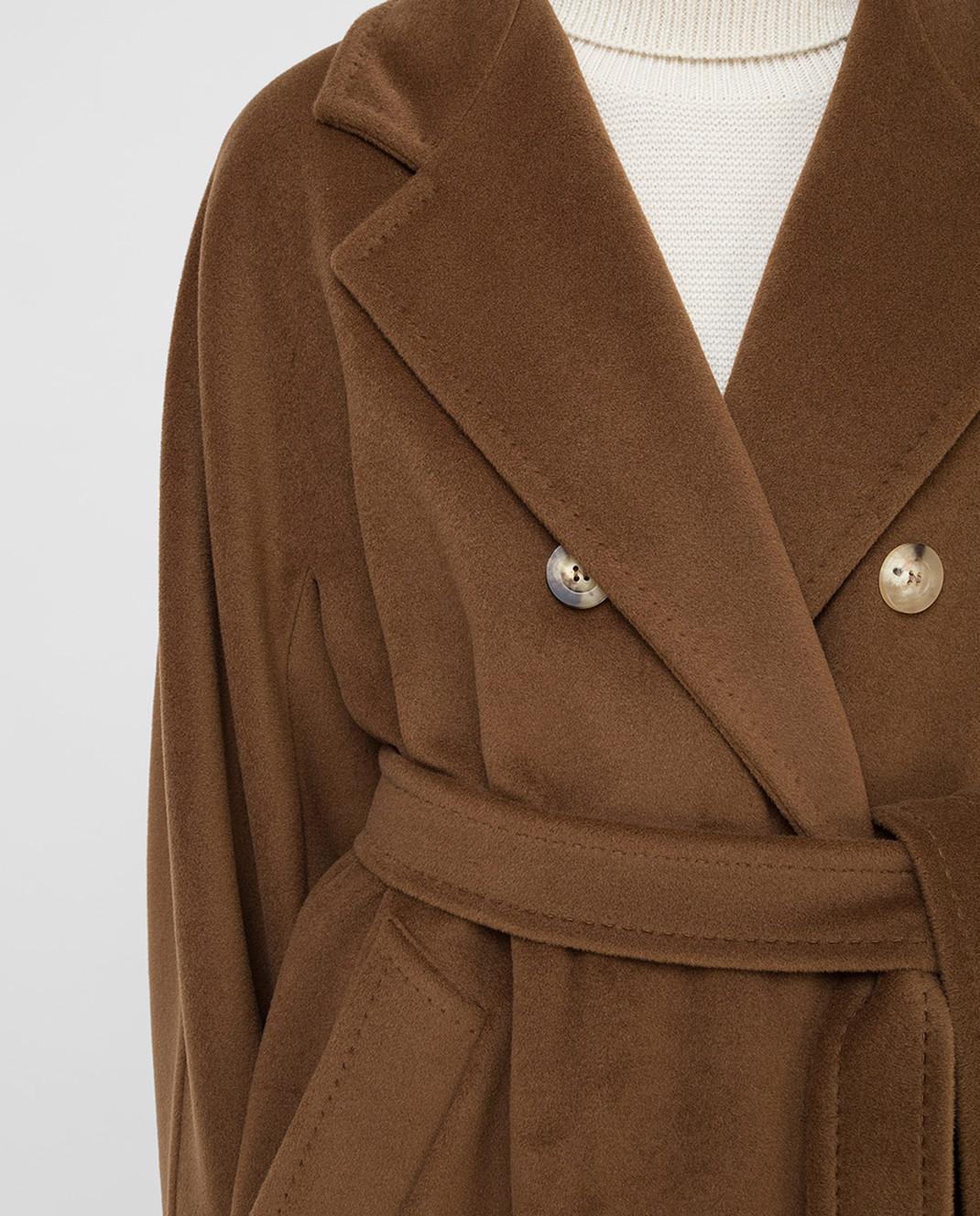 Max Mara Темно-бежевое пальто из шерсти и кашемира изображение 5