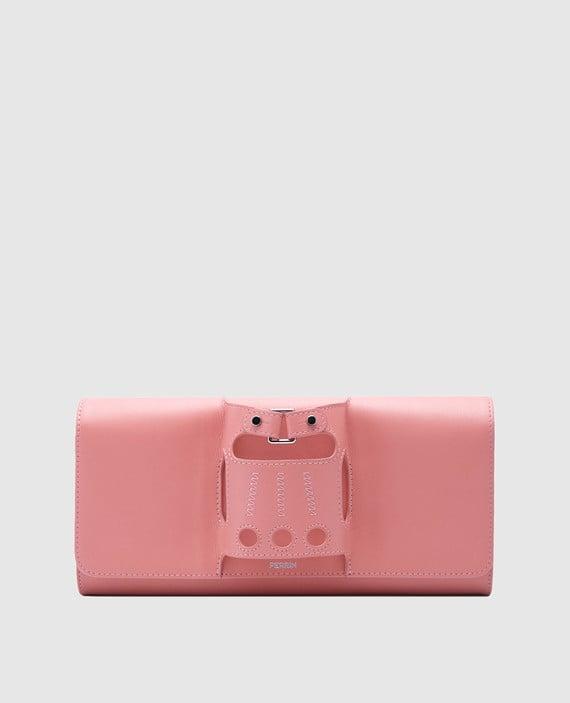 Розовый кожаный клатч La boucle