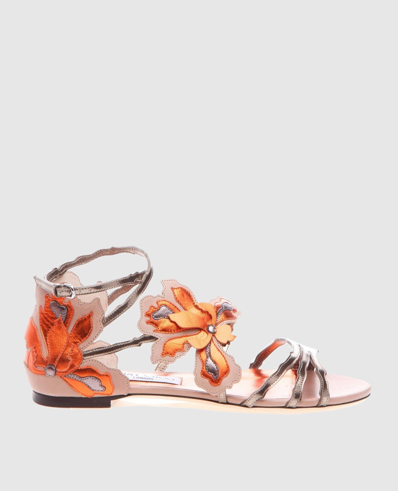 Золотистые кожаные сандалии Lolita